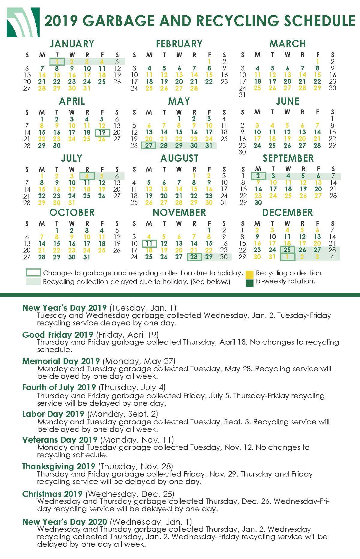 2019 Holiday Garbage and Recycling Schedule Chart