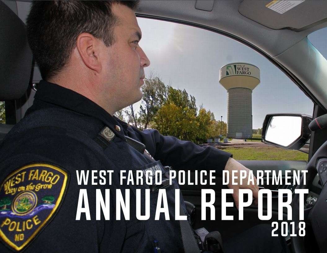 The cover page of the 2018 West Fargo Police Department annual report. Image of police officer in sq