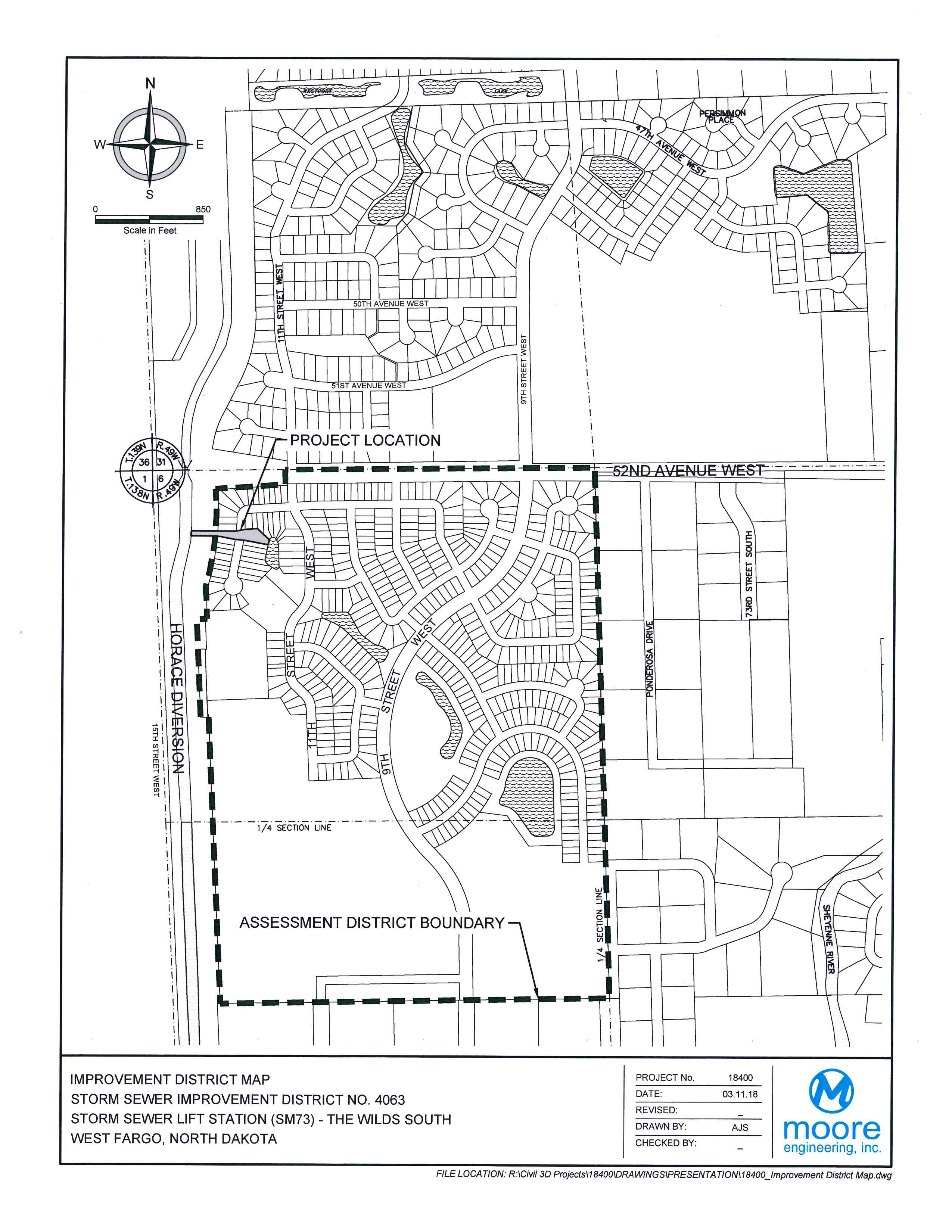 District No. 4063 The Wilds South Storm Sewer Lift Station Assessment District Boundary Map