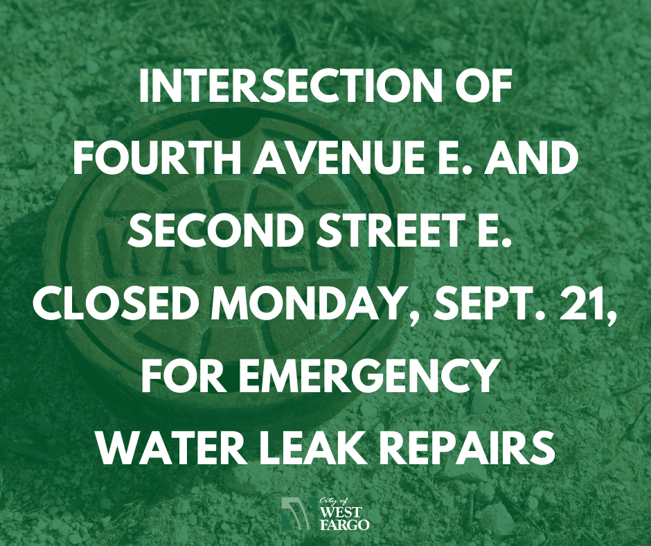 Intersection of Fourth Avenue E. and Second Street E. closed Monday, Sept. 21, for emergency water l