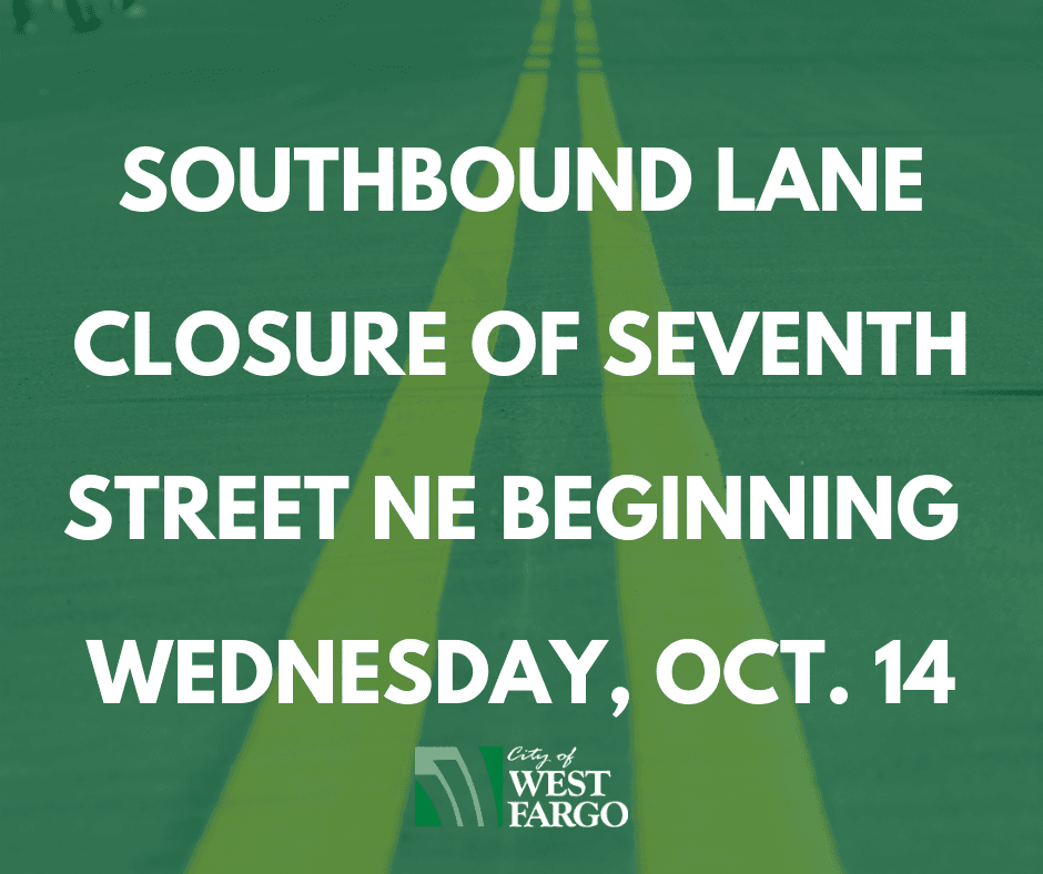 Southbound lane closure of Seventh Street NE beginning Wednesday, Oct. 14