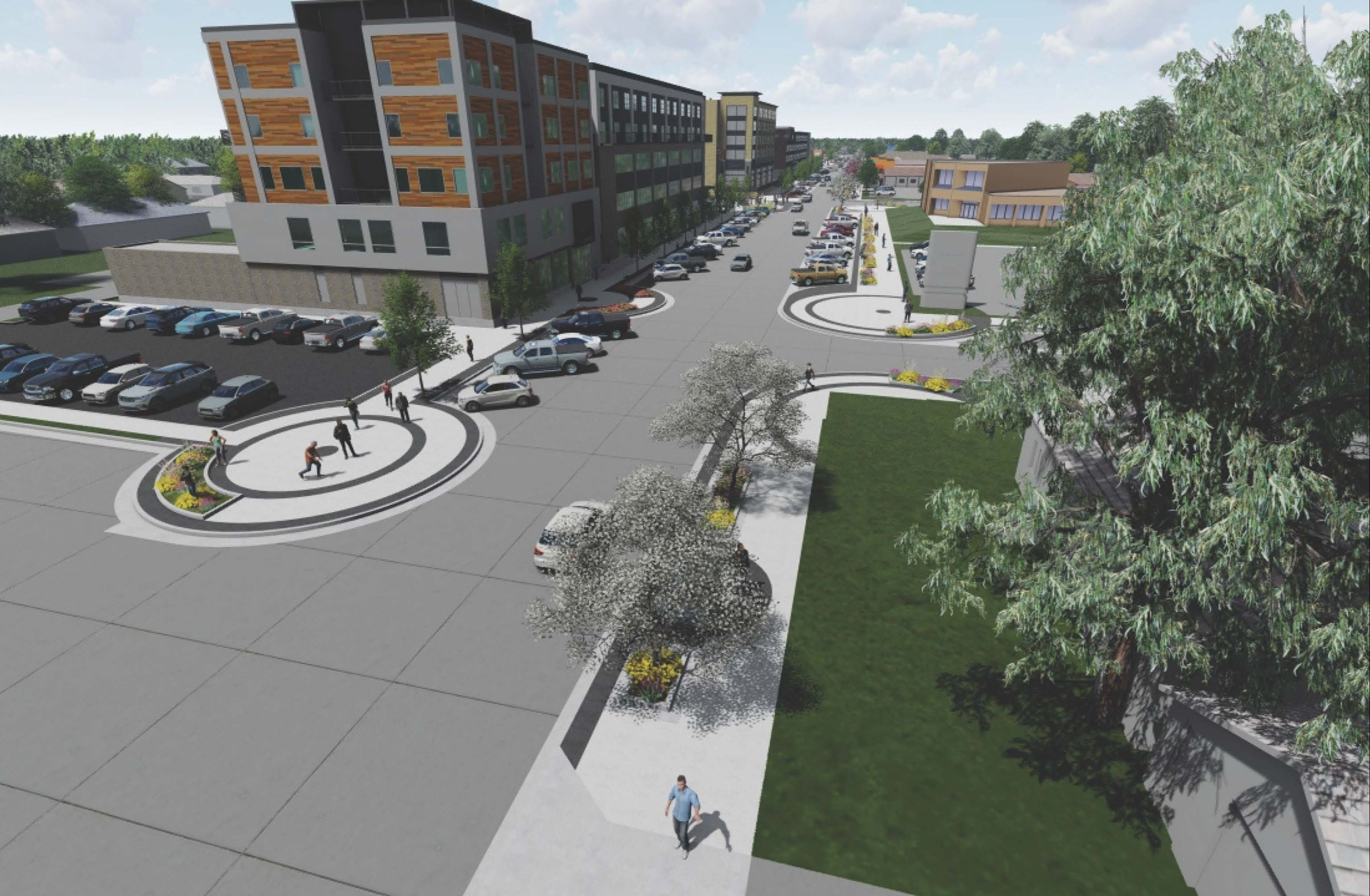 Rendering of reconstructed Sheyenne Street from north of Sixth Avenue W.