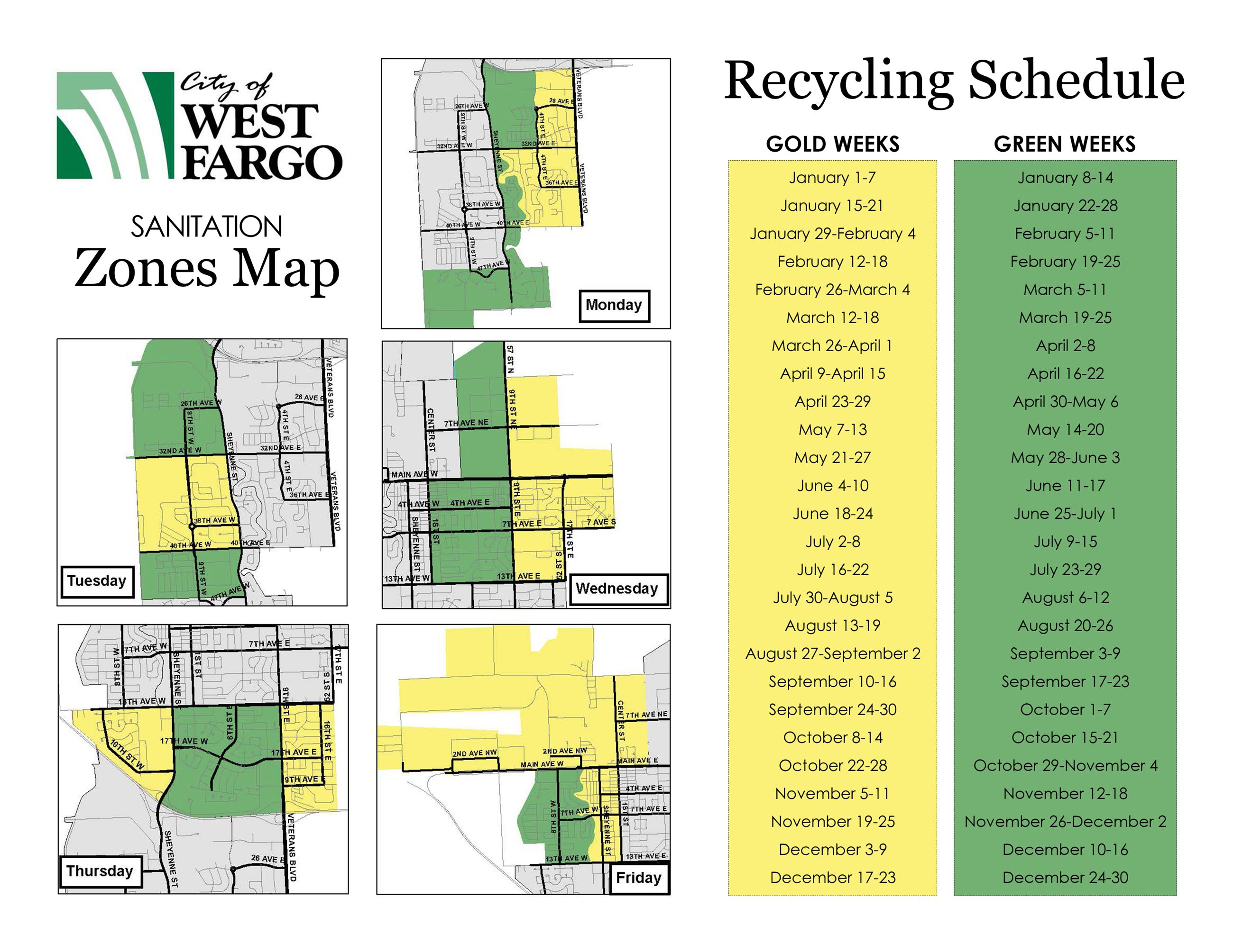 Sanitation Map and Recyling Zones